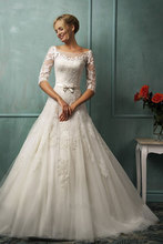 2015 New Arrival Elegant A-Line Wedding Dresses High Neck Long Sleeves Sweep Train Backless with Lace Gowns ZY101