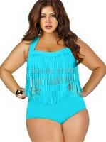2015 Newest Summer Plus Size Tassels Bikinis High Waist Sexy Women Bikini Swimwear Padded Boho Fringe