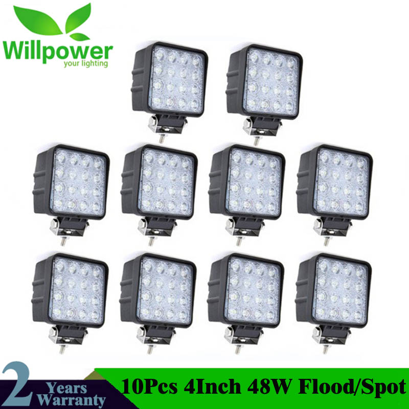 10PCS 4 Inch 48W LED Work Light For Indicators Motorcycle Driving Offroad Boat Car Tractor Truck