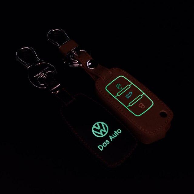 VW Аксессуары Ключ Для Автомобиля Бора Sagitar Passat POLO Tiguan Jetta Lavida Натуральная Кожа Световой Эффект Бесплатная Доставка