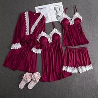 4PCS Women Satin Sleep Set Long Sleeve Lace Nightdress Sexy Cami+Pant+Strap+Robe Pajamas Pijamas Suit Casual Solid Home Clothes