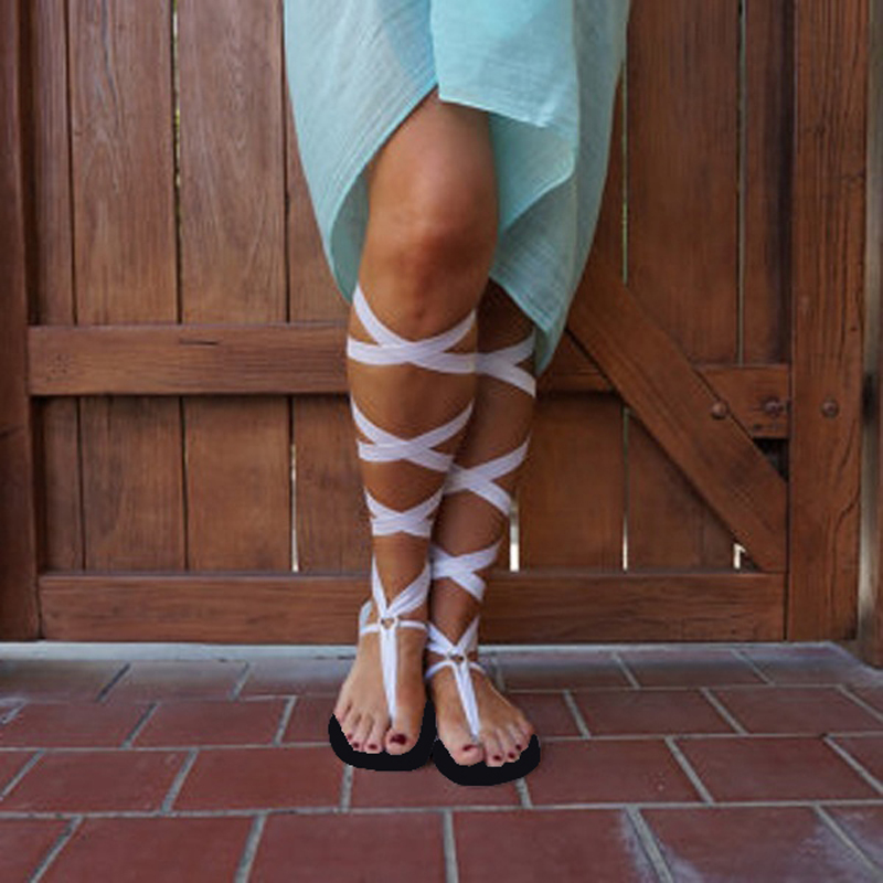 b48181b2dc03 Women Sandals Plus Size Thong Bandage Bohemian Beach Style Shoes Woman  Summer Lace Up Knee High Flat Shoes-in Low Heels from Shoes on  Aliexpress.com ...