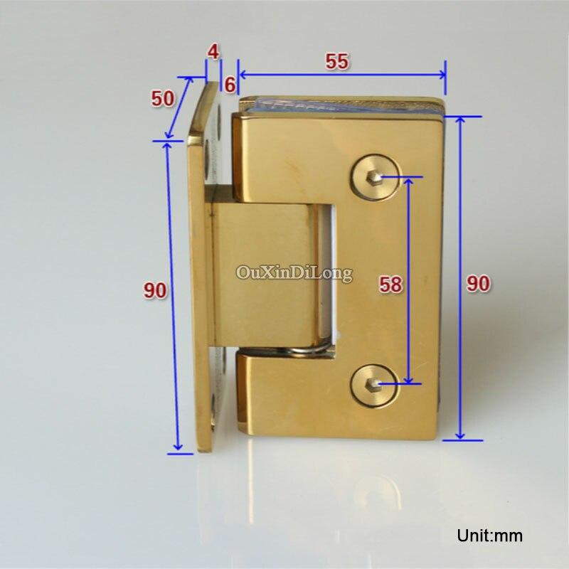 HOT 2PCS Stainless Steel Titanium Gold Frameless Shower Glass Door ...