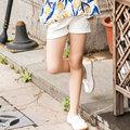 Последние мода джинсовые шорты для девушки джинсы шорты средний талия джинсы для девочек черный белый эластичный рюшами шорты дети 2016 одежда