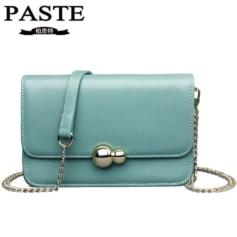 PASTE New Brand Genuine Leather Bag Women Messenger Bags Luxury Cow Leather Small Chains Strap Women's Shoulder Bag Casual Tote fashion leather women shoulder big bag genuine leather cowskin paste brand luxury leather message women bag 7 colors p1006a