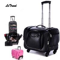 Letrend крокодил прокатки Спиннер для багажа для женщин косметичка Multi function тележка носить на чемоданы колесо кабина дорожная сумка