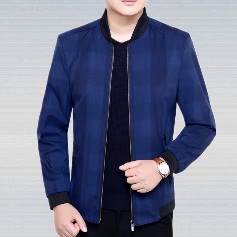 LEFT ROM 2018 spring fashion men's Slim fit stand collar grid jackets/high-grade male leisure comfortable Long sleeve coat M-3XL