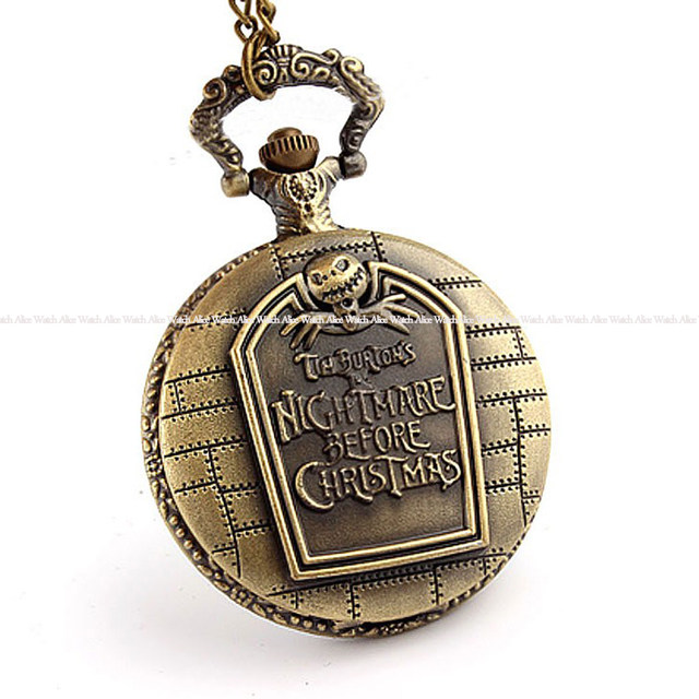 vintage nightmare before christmas quartz pocket watch with chain necklace pendent men watch relogio de bolso - Nightmare Before Christmas Watch Online