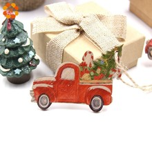 3PCS/Lot Colorful Printed Car Christmas Gift Wooden Pendants Ornaments Wood Craft Tree Decorations Kids Toys