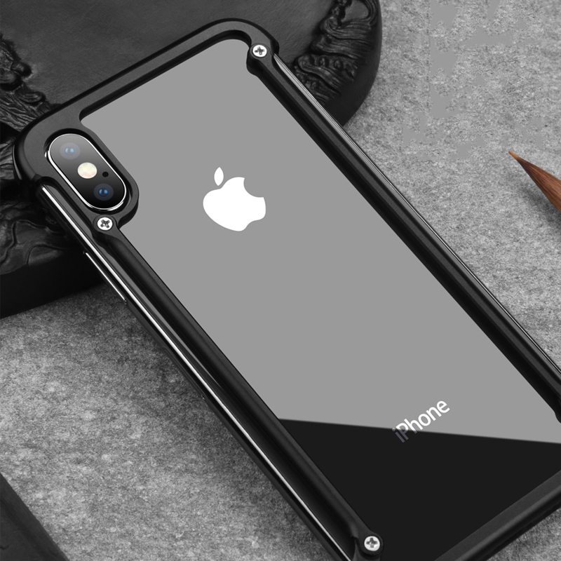 Original Oatsbasf Aluminum Metal Bumper Case For iPhone X XS XS MAX XR Luxury Hard Shockproof Drop Protection Case For iPhone X