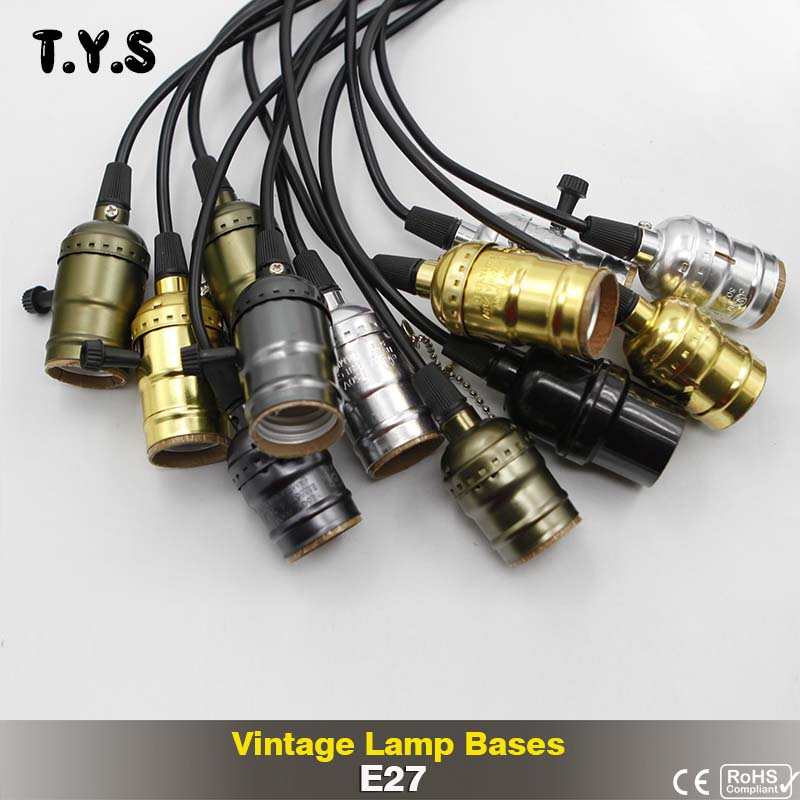 TYS AC 110V 220V E27 Retro Edison Lamp Base Vintage Lampada Edison Light Bulb Holder Pendant Light Screw Socket For Candle Light e27 retro antique edison wall lampholders base light metal bulb socket j type