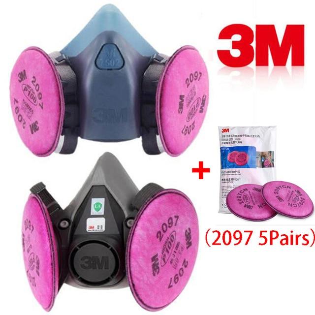 11 ב 1 3M 6200 7502 ריסוס Respirator גז מסכת עם 3M 2097 גז מסכת תעשיית מסנן עבודה בטיחות אבק מסכה