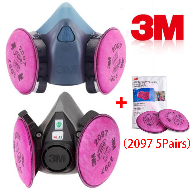 11 In 1 3M 6200 7502 Spray Painting Respirator Gas Mask With 2097 Filter Industry Work Safety Dust