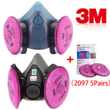 цены 11 In 1 3M 6200 7502 Spray Painting Respirator Gas Mask With 3M 2097 Gas Mask Filter Industry Work Safety Dust Mask