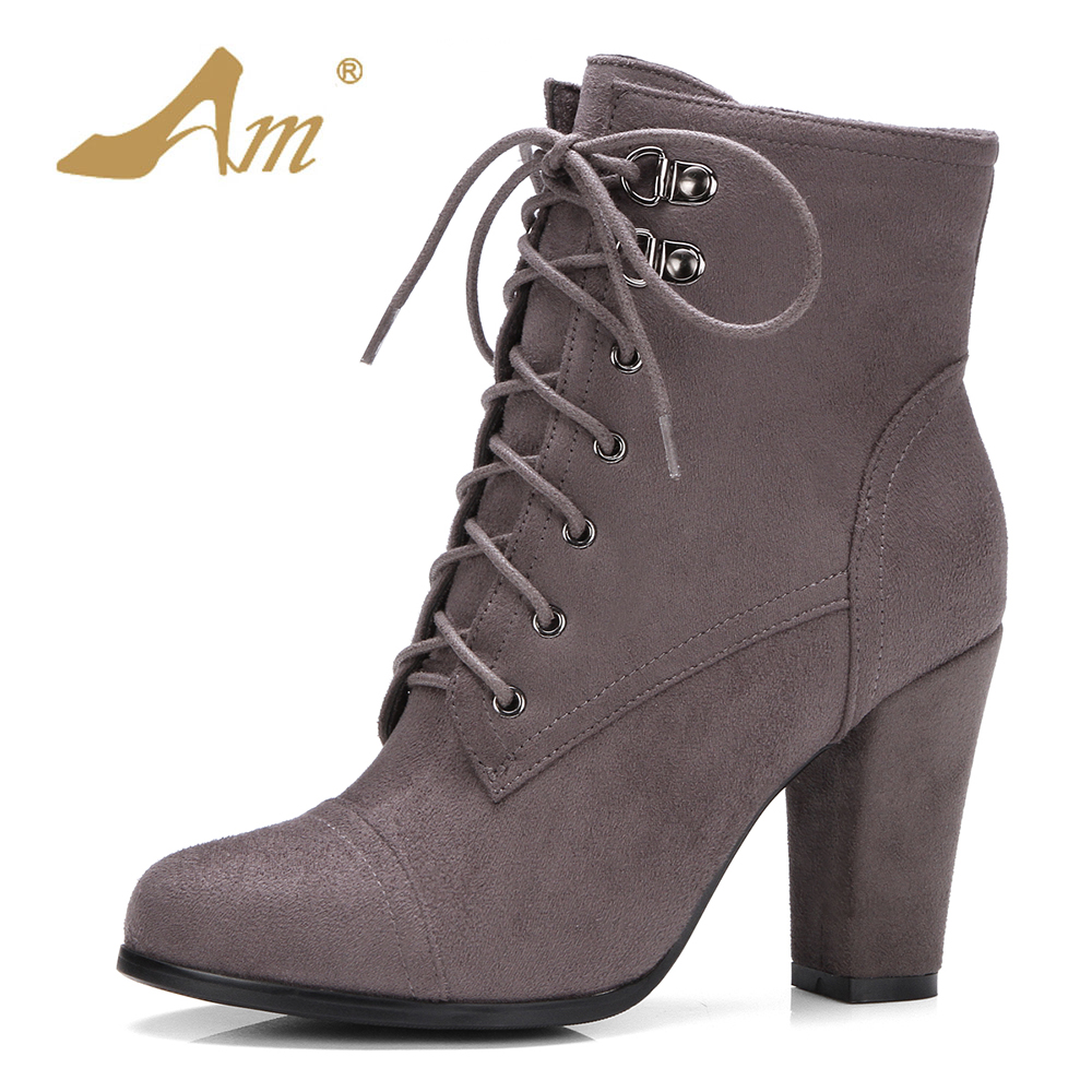 AME Autumn Winter Women 4 Colors Flock Ankle Boots Ladies Plus Size 40 41 42 43 Zip Shoes High Heeled Square Heel Solid Boot plus size 34 43 autumn and winter ankle boots flock women motorcycle brand quality square high heeled woman chelsea boots shoes