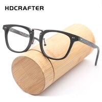 HDCRAFTER 사각형 투명 렌즈 안경 나무 안경 프레임 남성 컴퓨터 독서 안경 프레