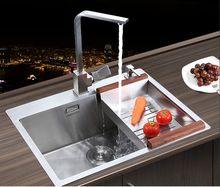 Бесплатная доставка руководство одного groove растительное стиральная бассейна горшки 304 из нержавеющей стали Кухонные Мойки
