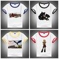 Venda quente! Nova Como treinar O Seu Dragão 2 Crianças T-shirts 100% Algodão de Verão de Manga Curta Roupa Do Bebê 6 cores Para 2-10Years