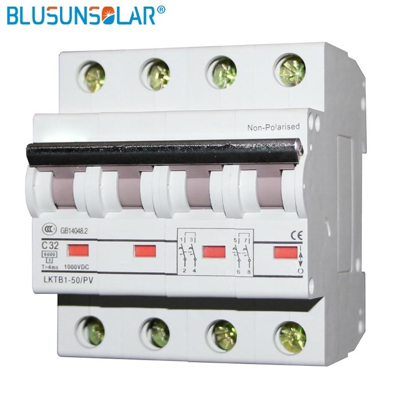 10PCS/Lot 4P 1000V DC Circuit Breaker MCB 6A 10A 16A 20A 32A 40A 50A 63A