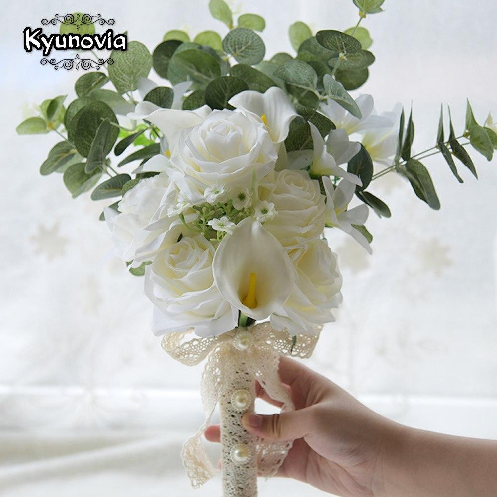 Image 2 - Kyunovia Boho Bridal Wedding Flowers Mini Bridesmaid Bouquet Real Touch White Calla Lily  Flowers Bridal Wedding Bouquet FE100Wedding Bouquets   -