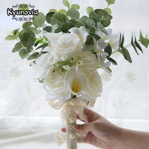 Image 2 - Kyunovia Boho Bridal Wedding Flowers Mini Bridesmaid Bouquet Real Touch White Calla Lily  Flowers Bridal Wedding Bouquet FE100