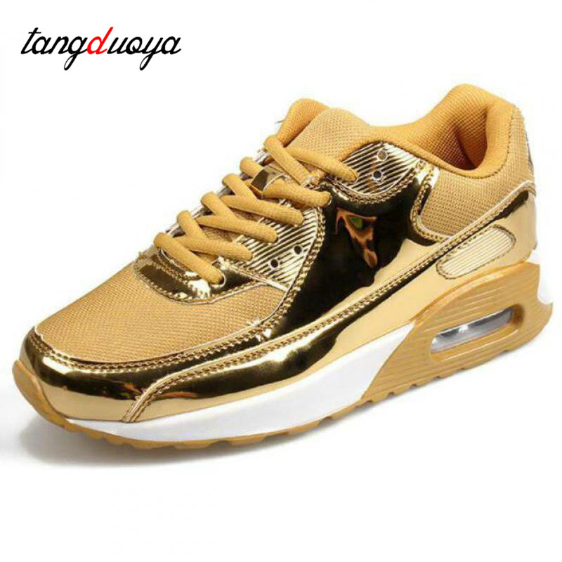 Fashion Pu Leather Women Sneakers Breathable Mesh Women Casual Shoes Flat Shoes Women Vulcanize shoes gold Silver Women Shoes 44