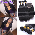 HOT 8A Annabelle Stema Hair Brazilian Virgin Hair with Closure Straight Mink Brazilian Hair Human Hair Bundles Lace Closure