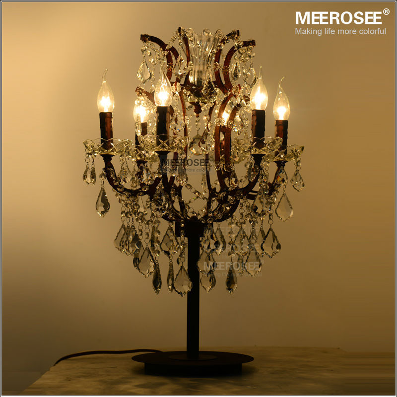 Wrought Iron 6 Lights Crystal Table Lamps Antique Retro Light Lighting Living Room Bedroom