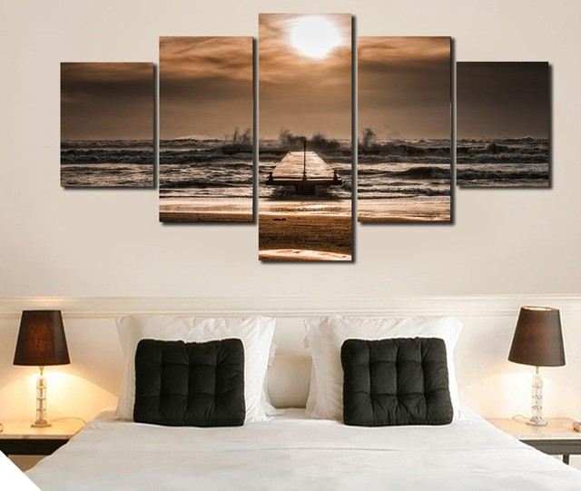 5 pezzi pittura di Paesaggio spiaggia modulare immagini decorative ...