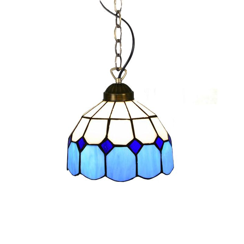 Mediterranean Blue Tiffany Dining Room Pendant Lamp Fashion Cafe Bar Pendant Lamps Balcony Hallway Hanging Light classic chinese style wooden pendant lamp vintage dining room pendant light tea house hallway balcony hanging lamps