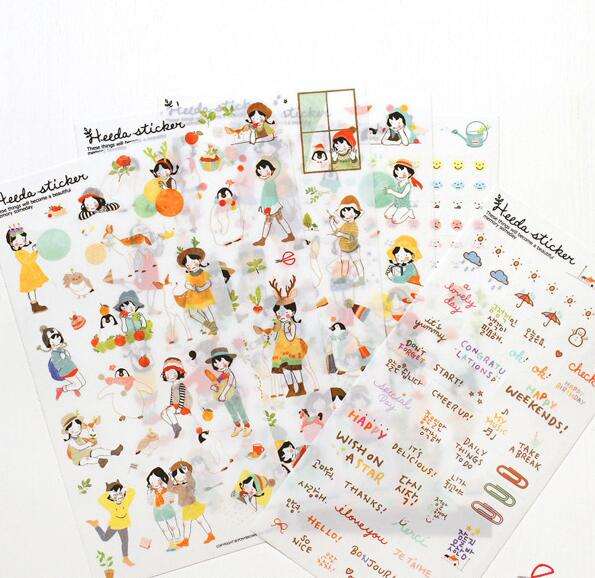 6 pcs/pack Sweet Girls Transparent Decorative Sticker Set Diary Album Label Sticker DIY Scrapbooking Stationery Stickers Escolar sweet letter pattern removeable waterproof decorative wall sticker