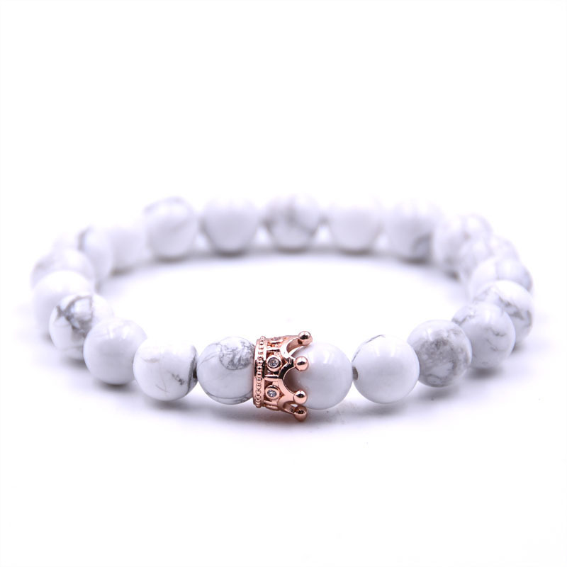 Trendy Black White Stone Beads with Gold Silver Color Alloy Crown Bracelet For Women Men Couple Bangles Jewelry in Strand Bracelets from Jewelry Accessories