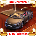 New Year Gift R8 1/18 Metallic Model Car Scale Collection For Car Fans Diecast Alloy Vehicle Luxury Present Toys