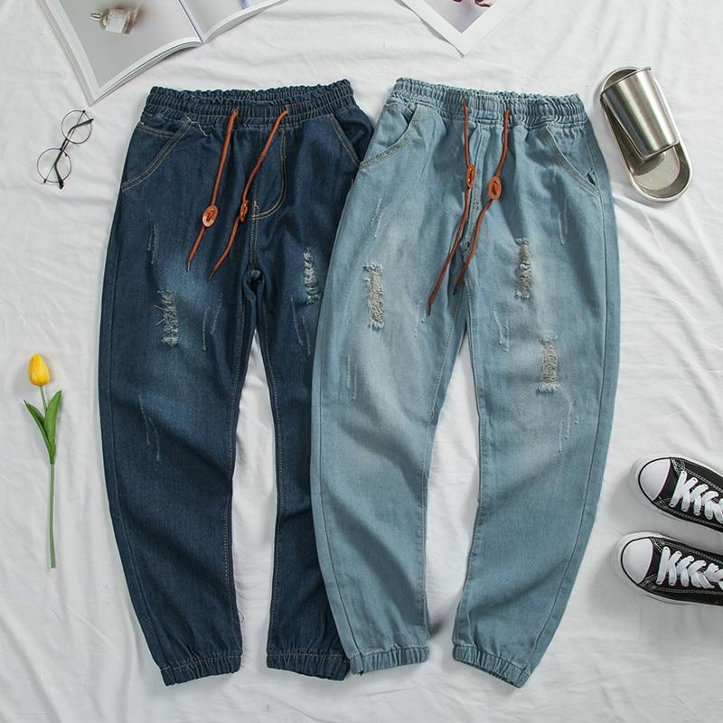 Jeans   Men's 2019 New Hip Hop Hole Men's Nine Points   Jeans   Personality Male Casual Harem Pants Elastic Waist Dropshipping NZK09