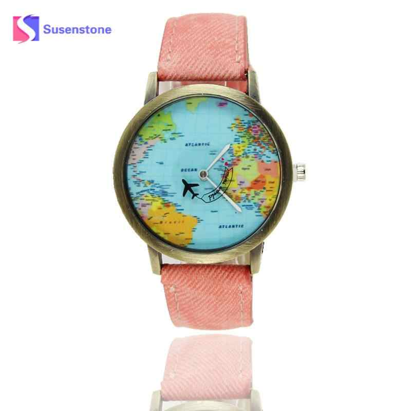 Модные брендовые женские мужские наручные часы Элитные кварцевые наручные часы Глобальная дорожная карта женские часы ремешок из джинсовой ткани #