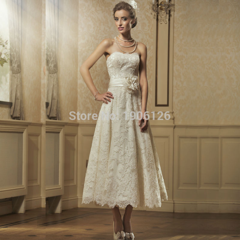 Ivory lace short wedding dress 2016 ankle length bridal for Lace ankle length wedding dress