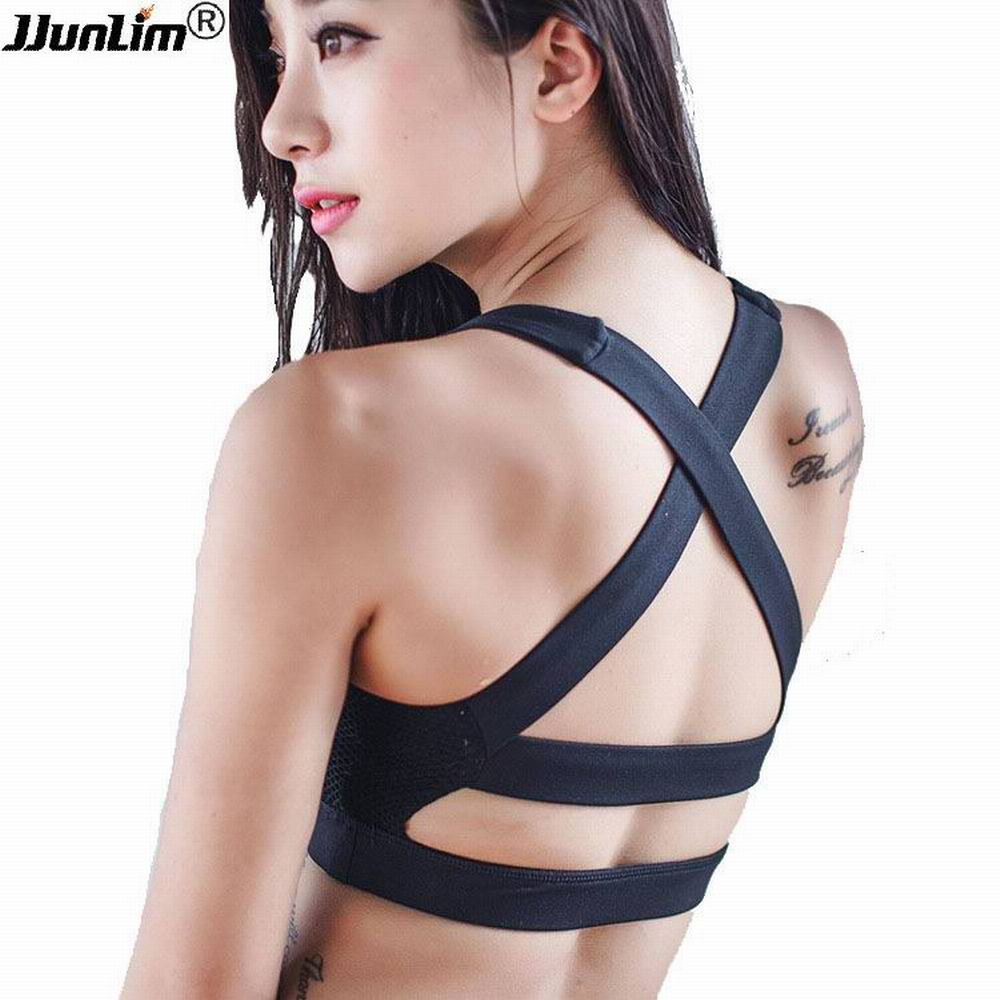Professional Women Sexy Yoga Bra Shake proof Sports Bra Push up Running Bra Sports Shirt Workout Gym Bra Fitness Vest Top Black plain bandeau bra