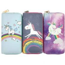 KANDRA Kawaii Cartoon Unicorn Wallet Purse Ladies Womens Leather Animal Print Long Phone Credit Card Holder Wholesale