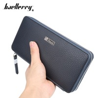 Fashion Long Business Leather Men Wallets Multifunction Zipper Pockets Big Capacity Card Holder Coin Purse Clutch