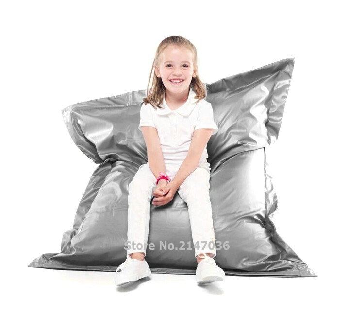 Silver color children bean bag pillow cushion chair, waterproof sofa beds image