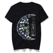Rocksir moon skull sand clock design t-shirt men 2018 new cotton novelty hip hop harajuku tees male brand men's clothing