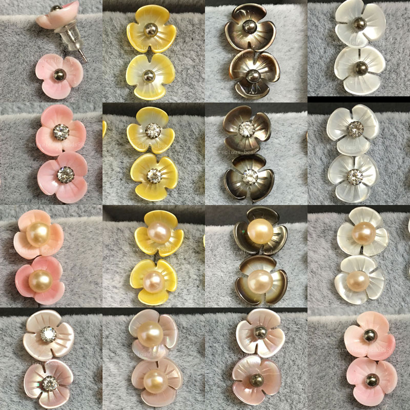 10pair Wholesale Free Shipping Fashion Jewelry Yellow White Black Pink Mother of pearl Shell Flower Beads Stud Earrings WFH463 цена и фото