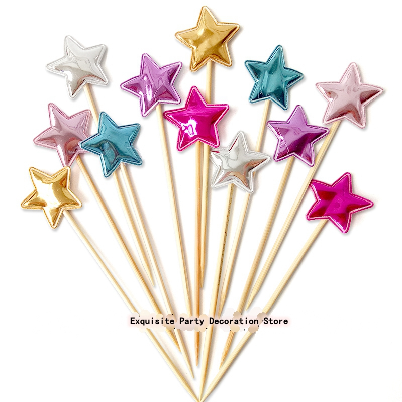 NEW 5pcs Five-pointed Star PU Bright Meteor Cake Topper Kids Birthday Cupcake Flag Baby Shower Party Wedding Decoration Supplies