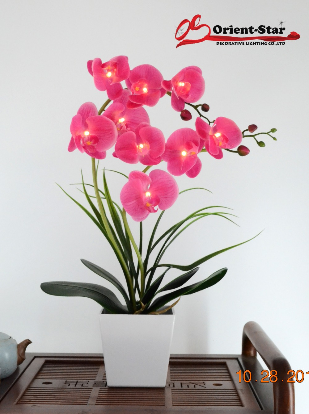 Free Shipping 20( 50cm) LED Blossom Real Touch Orchid Flower Light 9 PCs Warm White LED /Lighted Flowers with 2*AA Battery potFree Shipping 20( 50cm) LED Blossom Real Touch Orchid Flower Light 9 PCs Warm White LED /Lighted Flowers with 2*AA Battery pot