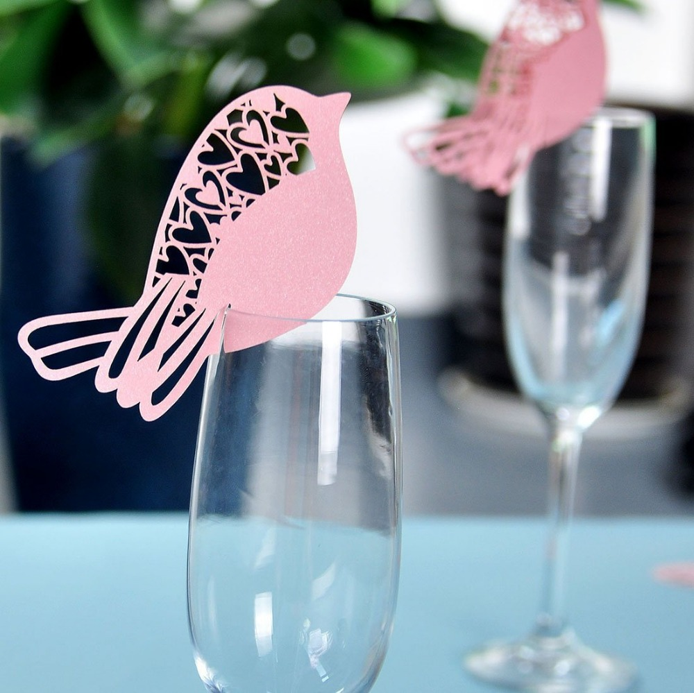 50x Paper Laser Cut Fat Bird Name Place Escort Card Wine Glass Cup Cards Wedding Baby Shower 1st Birthday Party Decorations ...