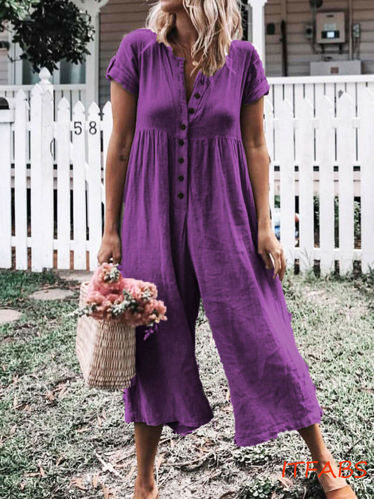 Plus Size S-3XL Women Button  Long Wide Leg Romper Strappy Dungaree Bib Overalls Casual Loose Solid Jumpsuit