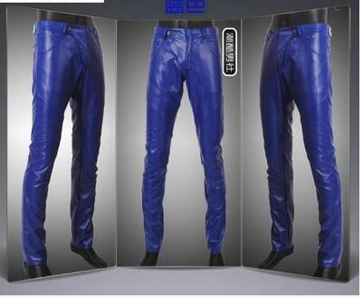 promo code purchase newest super cheap compares to US $42.9 22% OFF|2019 mens tight leather pants male slim skinny pant mens  leather pants men's clothing casual leather trousers fashion red blue-in ...
