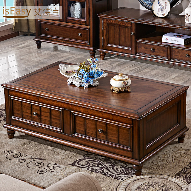 Americana minimalista sala de estar mesa de centro de for Mesas de madera para sala