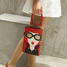 Woman Pattern Handbag Fashion Sexy Women Earrings Decorated Crossbody Messenger Bag New Style Female Tote Lady Shoulder Bag 2019 rivet decorated clamshell female messenger shoulder bag