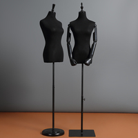 Flexible Plastic Mannequin Hand Half Body Woman Mannequin Cloth Display Rack Black White Cloth Wrapped Female